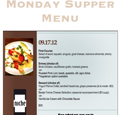 Monday Supper Menu for September 17, 2012