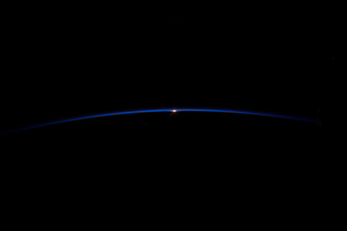 """To See Earth As It Truly Is"" The thin blue line of Earth's atmosphere photographed from the International Space Station14:05 GMT August 19, 2012."