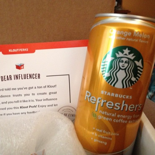Starbuck's Klout Perk: Starbucks Refreshers #starbucks #refreshers #klout #kloutperks | Thank you, Starbucks (Taken with Instagram)
