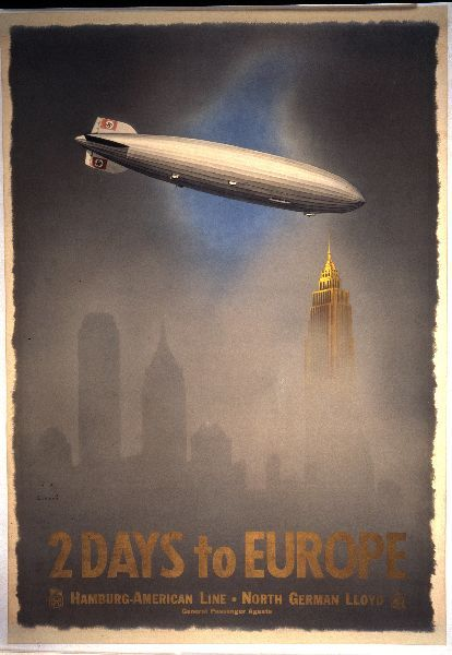 abject-reptile:  2 Days to Europe poster, 1937. Designed by Jupp Wiertz.   #Nazism/Third Reich , #Zeppelins , #Travel , #Transportation , #Advertising , #Aviation , #Tourism