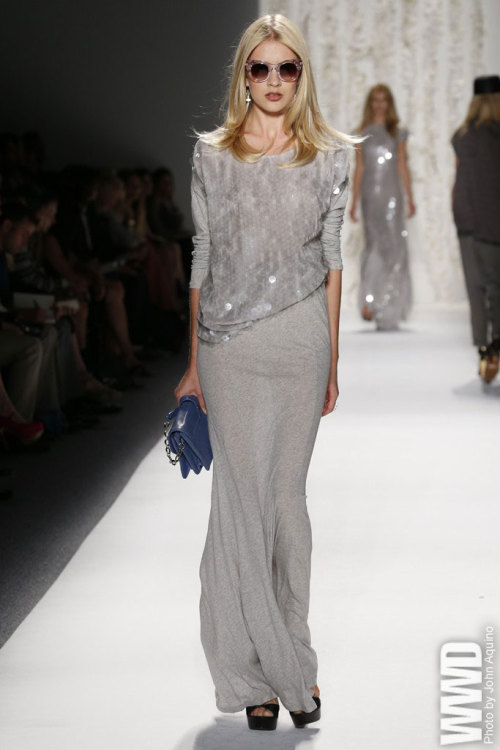 Rachel Zoe RTW Spring 2013 Working in a mostly black-and-white palette, Zoe showed her versions of a Seventies power suit and lots of those beloved jumpsuits.  For More See all of WWD.com's RTW Spring 2013 Runway Coverage