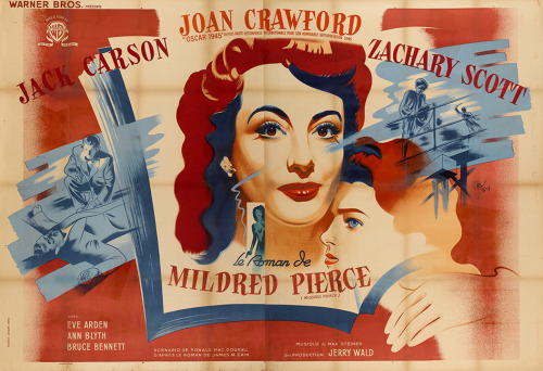 "1946 French double grande poster for MILDRED PIERCE (Michael Curtiz, USA, 1945) Artist: Rocher Vacher Poster size: 63"" x 94"" (click image to see large) Poster source: Heritage Auctions"