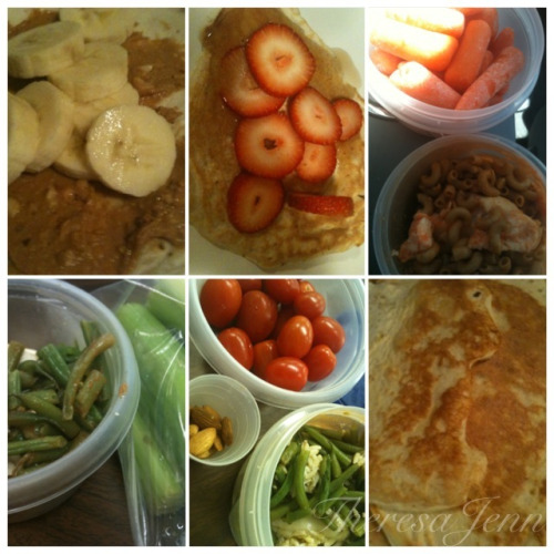 My Clean Meals: Wednesday, September 12th, 2012 protein pancakes with banana protein pancakes with strawberries whole wheat macaroni with tilapia + carrots green beans with tilapia + celery grape tomatoes, almonds, green beans and tilapia pancakes I am still catching up with life since being back from vacation and working full time so I have not had as much time to get fancy with my meals or cook multiple proteins (hence the tilapia). But that's okay because the bottom line and most important piece is eating my 6 clean meals every couple of hours and including all food groups. My job is done and my body feels amazing when I eat clean. I know for sure that my body and mind run differently when I eat clean verses dirty. Eating clean is definitely the fuel I need to function and keep up with my busy schedule and training.  Do you find a difference in the way you feel when you eat clean vs. dirty?