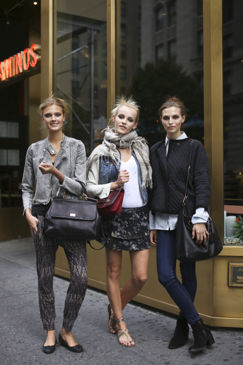 Constance Jablonski, Ginta Lapina and Karlina Caune Off Duty