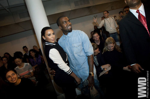 womensweardaily:  Kim Kardashian and Kanye West Front Row at Louise Goldin