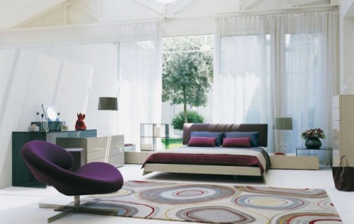 homedesigning:  (via White Purple & Sun Light Bedroom)