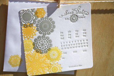 "lovelyetsy:  ""Grey & Yellow Doily"" Save the Date Cards by fluidinkletterpress"