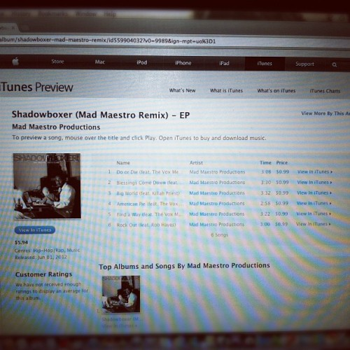 Mad Maestro Productions' Shadowboxer EP now available in the iTunes store!!! (Taken with Instagram)
