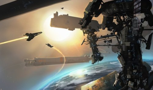 ___CotV:OS by ~sinix  This reminded me of Homeworld 2. I'm slightly obsessed with spaceships.