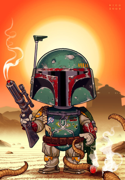 tiefighters:  Boba Fett on Tattooine Created by Nicolas Villeminot Prints available at Society6 DeviantART || Blog