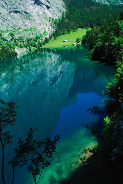 landscape trees water mountains nature forest reflection Germany Königssee