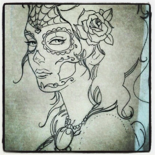 """#Death to #Life"" a #sketch for a #tattoo im working on.  #girl #female #beauty #rose #flower #dayofthedead #diadelosmuertos #sugarskull #drawing #doodle #pen #ink #micron #paper #serv1 #gtt  (Taken with Instagram)"