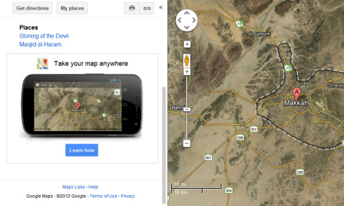 Google maps - The android application ad in the left panel displays the map that you are currently viewing. /via Ahmed H. Alley
