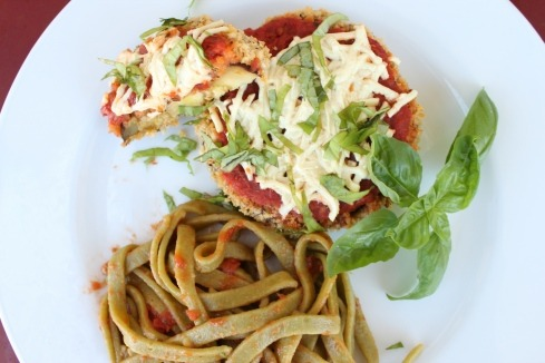 Vegan Eggplant Parmesan w/ Whole Wheat Spinach Pasta