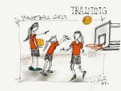 daniellimsketch:  Basketball Girls Training this afternoon @ Bukit Batok Secondary School Made with Paper