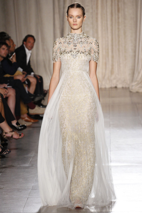 Collection: Marchesa S/S 2013 Who we see wearing this piece: Olivia Wilde. And though it's a tad fussy for the normally conservative actress, we think someone like Shailene Woodley could really pull this off. Who would you like to see wearing this on the red carpet?