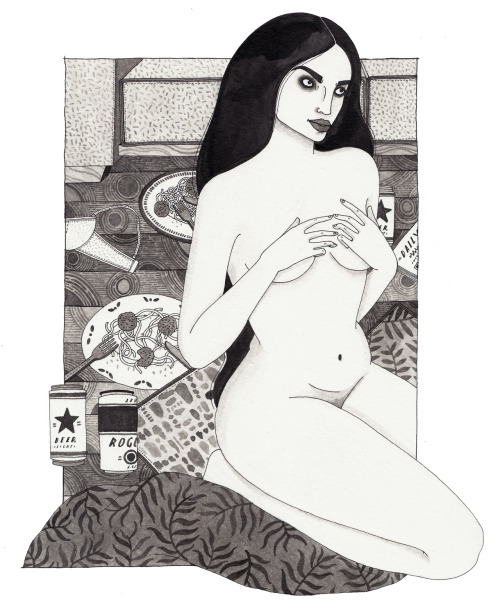 lauracallaghanillustration:  nude with linguini because you haven't eaten pasta until you've eaten it naked