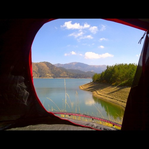 mavk:  View from the tent  Aoos Lake Northern Greece   Located about 5 km northeast of Metsovo   I definitely want to go to Greece!