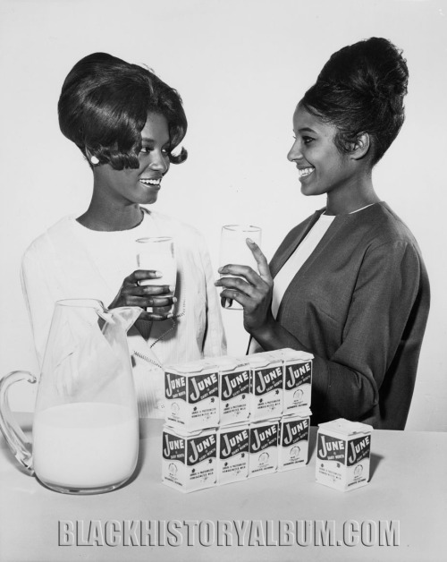 GOT MILK!  1964 Two unidentified African American teenage girls featured in an ad promoting June (1964) as dairy month. Charlotta Bass / California Eagle Photograph Collection, University of Southern California, Los Angeles, CA, 1964 FIND US ON TWITTER | FACEBOOK | TUMBLR | FLICKR | PINTEREST