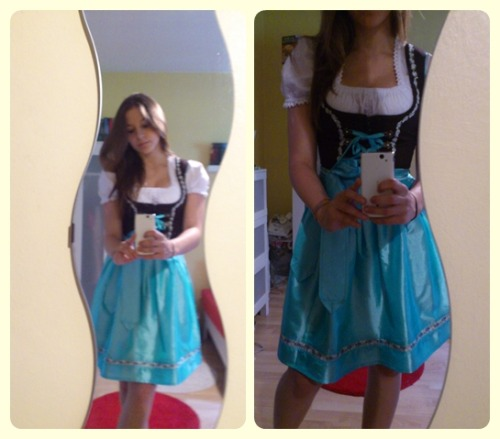 look what came today! my dirndl for the octoberfest here. well now i really look like a german, right? :) gonna post another photo on the day when i'm actually wearing it.