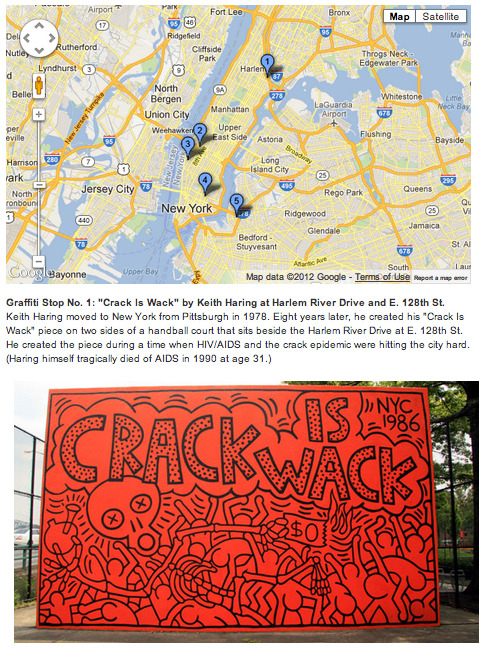 "Via WNYC - ""A Tour of NYC's Coolest and Oldest Graffiti"":  The Richard Hambleton retrospective at Phillips de Pury & Company is only on view through Tuesday. But there's still plenty of historic graffiti around town to cast your eye over. With the help of graffiti aficionada Katherine Lorimer (who snaps shots of street art as Luna Park), WNYC has created a tour of five of the coolest and oldest pieces of graffiti around town. Scroll down to see our picks and check out a map of the spots here.  (Note that this was posted by WNYC a year ago (Sept 2011). I came across it today thx to timehop, b/c I tweeted the link a year ago.) The other 4 stops on the tour—click thru for photos and descriptions (and for the GoogleMap screengrabbed above):  Graffiti Stop No. 2: A fresh ESPO-flavored pack of gum at W. 40th St. and Ninth Ave. Graffiti Stop No. 3: A signature roller piece by REVS and COST on the High Line Graffiti Stop No. 4: ""The Allen Boys Mural"" by Lee Quiñones at 201 Allen St.  Graffiti Stop No. 5: A collaborative production mural by Zephyr, Smith and Pink at S. 9th St. and Havemeyer St."