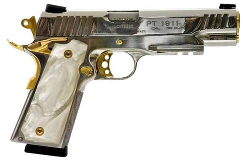 Kicking off the first 1911 Tuesday with something crass and tasteless! Taurus PT 1911 with chrome finish and fake gold trim.