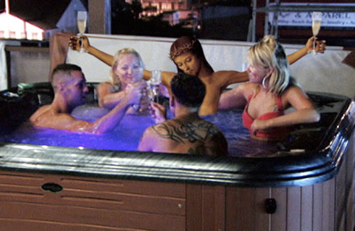 Jesus In The Jersey Shore Hot Tub With Some Grenades