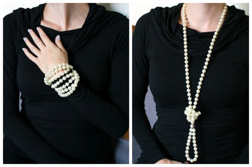 "DIY Seven Ways to Wear a Long Strand of Pearls from La Vie en Rose here. Make a ""Lady Mary"" Downton Abbey hat to go a long with the pearls here."