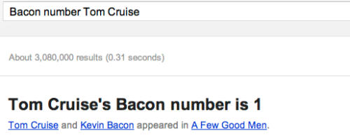 cheatsheet:  Google launches Bacon Number, is pretty amazing.  Innovation happening every day right here in America.