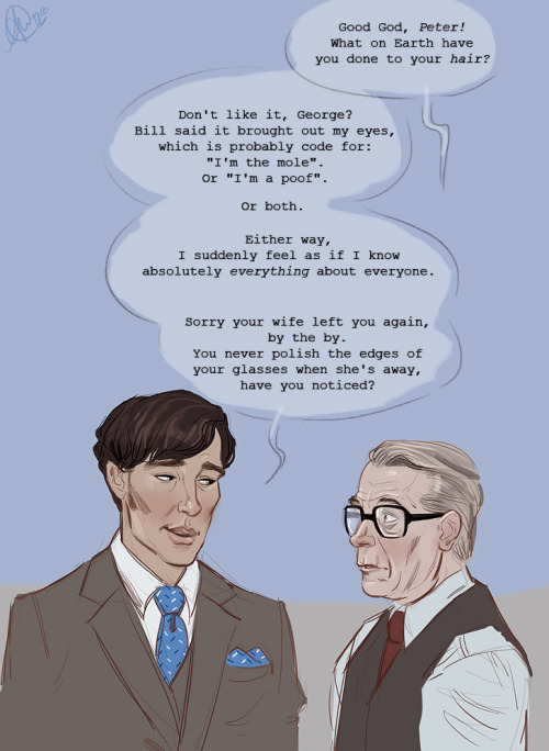 "cumberbitchsandwich:  eeba-ism:  Methinks ""Tinker Tailor Soldier Spy"" would've been a much shorter film if Benedict's hair had been dark. Credit for this idea goes to my sister c:  I fucking love this."