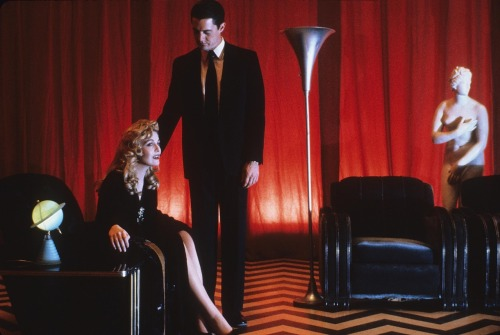 "filmlinc:  TWIN PEAKS: FIRE WALK WITH ME  Jeered at Cannes, belatedly hailed as a masterpiece, guaranteed to inspire nightmares, David Lynch's widely misunderstood ""prequel"" to his 1990-91 cult TV smash Twin Peaks was dismissed by critics and fans seeking tidy answers to lingering questions about the final days of ill-fated high school beauty queen Laura Palmer (Sheryl Lee). But taken on its own terms, Fire Walk With Me is pure Lynchian dream narrative, and perhaps the director's darkest, most unsettling vision of what lurks beyond the neatly manicured facades of plasticine suburban America. Coffee-loving FBI agent Dale Cooper (Kyle MacLachlan) is back on the scene—tracking an enigmatic killer from one bucolic Washington town to the next—as are the Log Lady, the Man from Another Place, the demonic parallel reality of the ""Black Lodge"" and the shape-shifting phantom known only as ""Bob."" Rich in echoes of the Jekyll and Hyde story and Little Red Riding Hood, and featuring two spellbinding set pieces—one in a traffic jam and one in a noisy roadhouse known as the Pink Room—that are alone worth the price of admission, Fire Walk with Me is an unforgettable descent into the depths of human madness…and of Lynch's singular cinematic imagination."