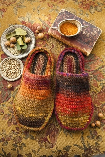 Noro crochet slippers