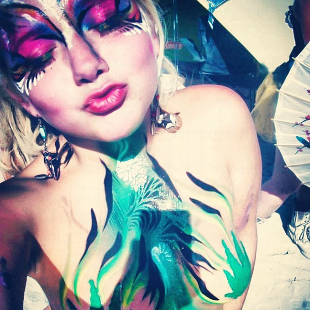 Goldie going green #burningman #brc #playa #bman #bodypaint #art #boobies #maryjane #420 #girlswhosmoke #blaze #russian #russiangirls #instapartygirls #instasexy  (Taken with Instagram)