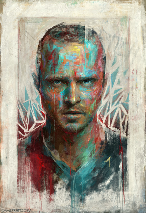 "samspratt:  ""Bitch"" - Portrait of Aaron Paul/Jesse Pinkman by Sam Spratt These crazy colorful paintings are always the most relaxing to make."