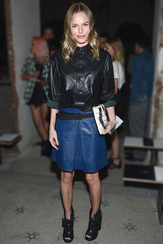 Kate Bosworthg at Proenza Schouler Spring 2013; NYC, USA My first reaction to this outfit was WOW! Leather was never hotter than in this season Fall 2013, and Kate by wearing leather shirt and skirt proves she knows the trends. Full leather outfit doesn't work all the time, it can end up disasterous but in this case it is phenomenal! I love it.