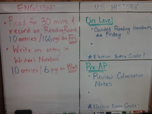 9-12-12/9-13-12 HW (Block Day) ELA: Read for 30 Minutes-10 entries/166 pages on Reading Record due Friday!  Write one entry in WNB-10 entries/6 pages due on Block Day! On-Level History: Reading Packet due on Friday. Pre-AP History: Review Colonization Notes ALL CLASSES: Extra credit (see previous post)