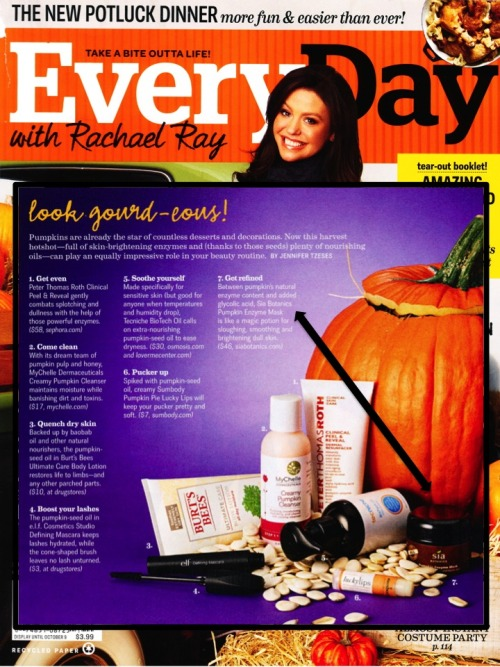 Sia Botanics Pumpkin Enzyme Mask (one of our faves!) in the Oct. issue of Every Day with Rachael Ray!