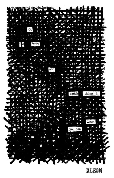 """Nine to Five,"" a newspaper blackout by Austin Kleon"