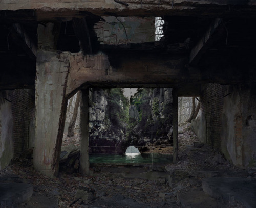 therhumboogie:  By Noemie Goudal, London based artist works investigating the relationships between people and abandoned structures. Placing these huge prints onto walls of derelict spaces, seemingly opening gateways to perfect serene little glimpses of nature, they seem to blend so effortlessly into the harsh human formations.