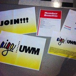 AIGA-UWM is tabling in the Union Ballroom now to 2pm.  We have a sign up she available and information about membership so stop by and tell your friends! (Taken with Instagram at UWM Ballroom)
