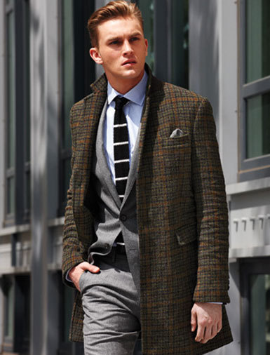 Coat ($2,080) by Dsquared2. Blazer ($425) and pants ($225) by J. Crew. Shirt ($125) by Polo Ralph Lauren. Tie ($70) by Club Monaco. Pocket square ($60) by Alexander Olch.