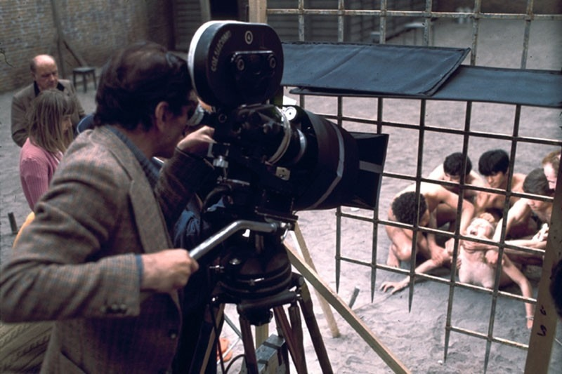 Pier Paolo Pasolini on the set of Salò o le 120 giornate di Sodoma / Salò or the 120 Days of Sodom (1975)