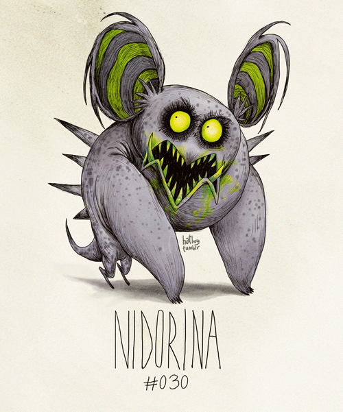 hatboy:  Nidorina #030 (Tim Burton Inspired Pokemon Re-Design)
