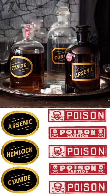 What's Your Poison? DIY New 2012 Free Printable Toxic Halloween Apothecary Labels from Country Living here. There's also a tutorial for the mirror in the background.
