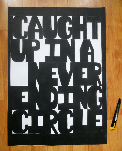 typographic poster, text is from Digitalism's 'Circles'