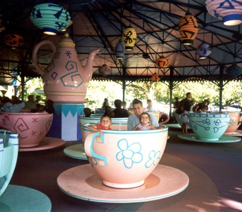 Here's Gabby, her dad and her brother on the teacup ride at Disney World! What a wish!