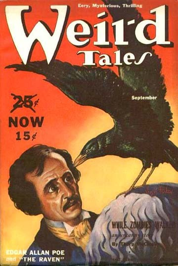 Poe's 'The Raven' on the cover of the September 1939 edition of Weird Tales.