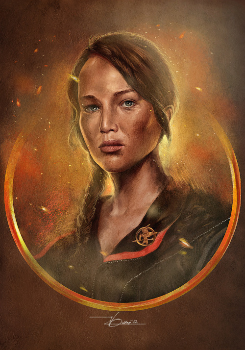 Artwork I made for an exhibit (happening this October), Katniss - The Girl on Fire