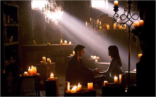 Burning question about these 10 new photos of the Vampire Diaries premiere: How often does Bonnie go candle shopping?
