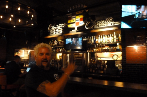 "uproxx:  Into The Dark Heart Of Guy Fieri Culinary Hell: A Review Of Guy's American Bar And Kitchen. Last week UPROXX reader and overall internet gadfly Bobby Big Wheel, an attorney based in New York who doubles as SB Nation's crack legal analyst, emailed us to say that he was planning on visiting Guy Fieri's new big douchey restaurant in Times Square — Guy's American Bar And Kitchen — on opening night with a few friends. He asked if we'd like him to review it for us. Well of course we would, silly! What follows is his dispatch from what, to the surprise of no one, sounds like nothing short of culinary hell.  Apparently the best thing on the menu is something called ""Tequila Turkey Fettucine."" Oh, and there's ""donkey sauce"" too!"